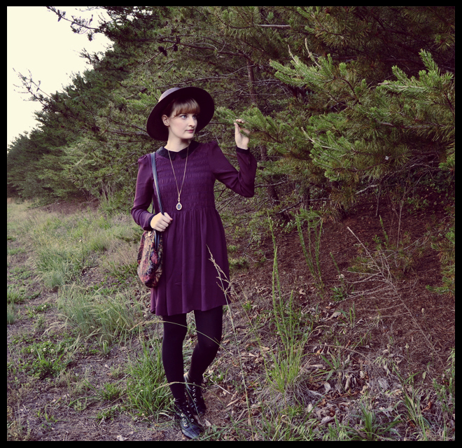 vintage hat, purple smock dress