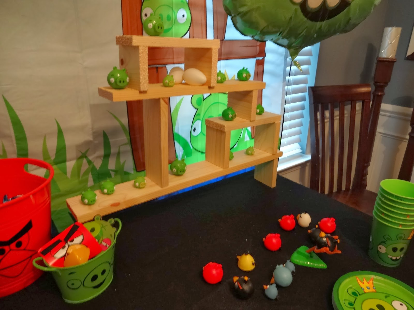 wood cut to be a larger angry bird game set up