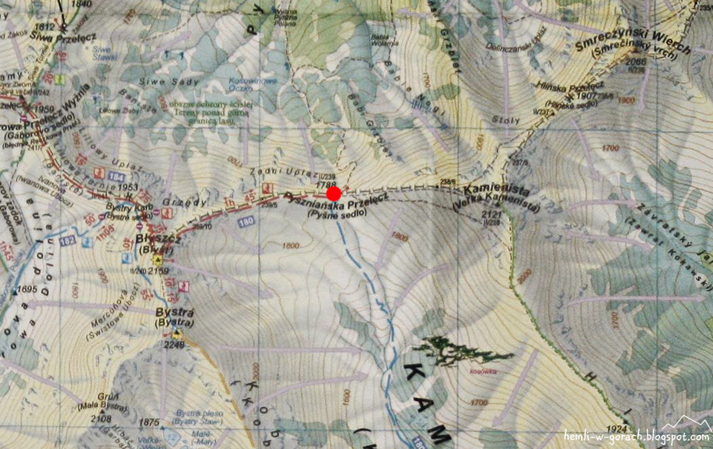 Pyszniańska Przełęcz - mapa