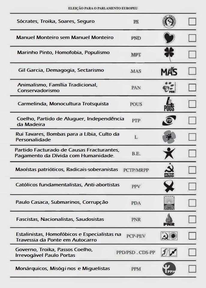 Boletim de Voto Europeias 2014 Eleição para o Parlamento Europeu