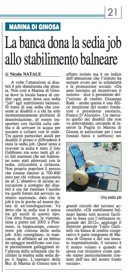 Ginosa news ginosanews marina di ginosa b c c dona una - Bagno lido nazionale sas ...