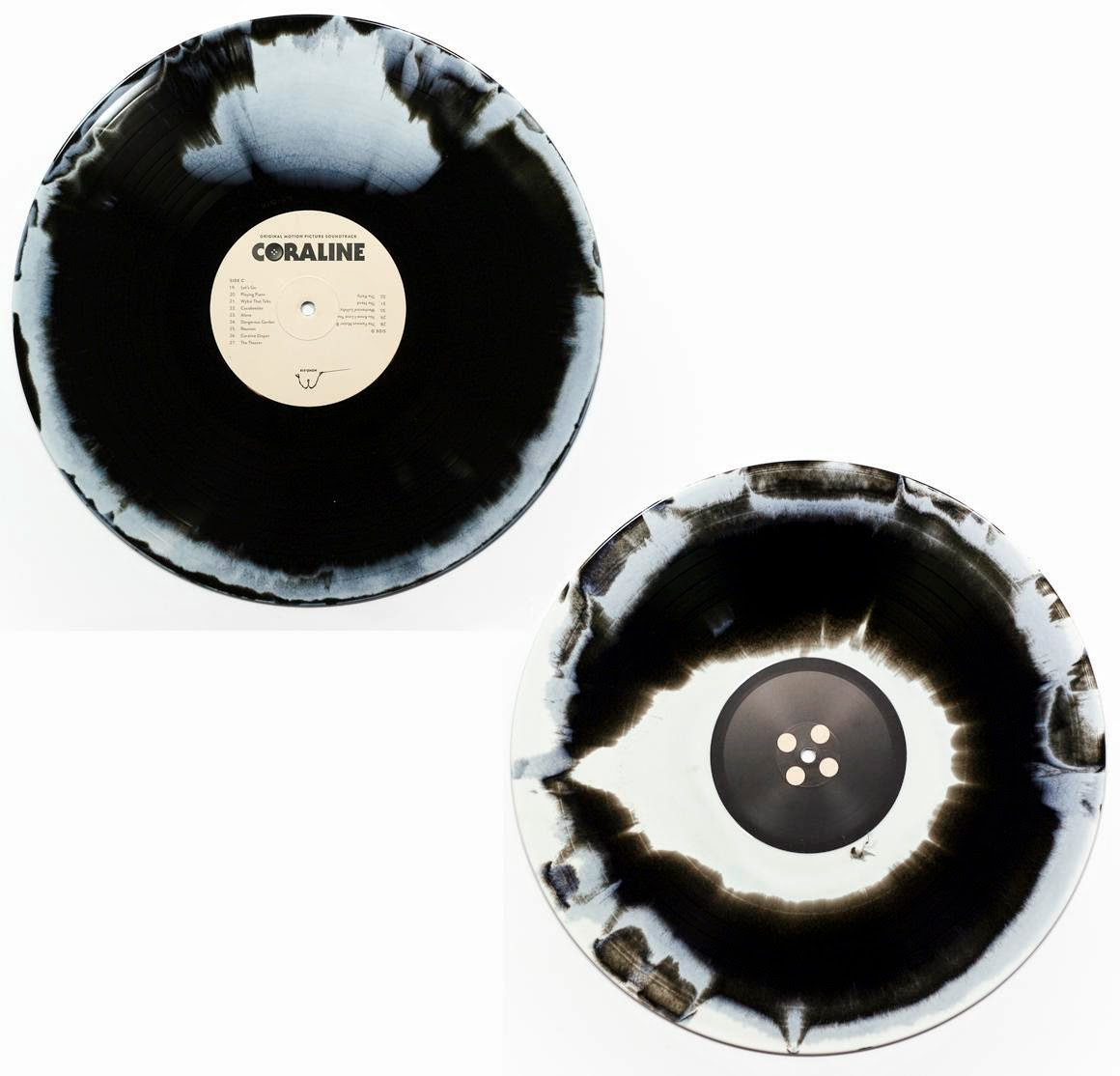 Coraline Soundtrack Black & White Swirl Vinyl Record Variant by Mondo