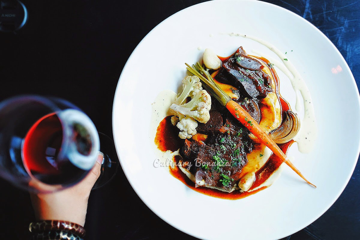 Boeuf Bourguignon - sous vide wagyu beef shank, red wine jus, grilled sous vide vegetables & mash potato