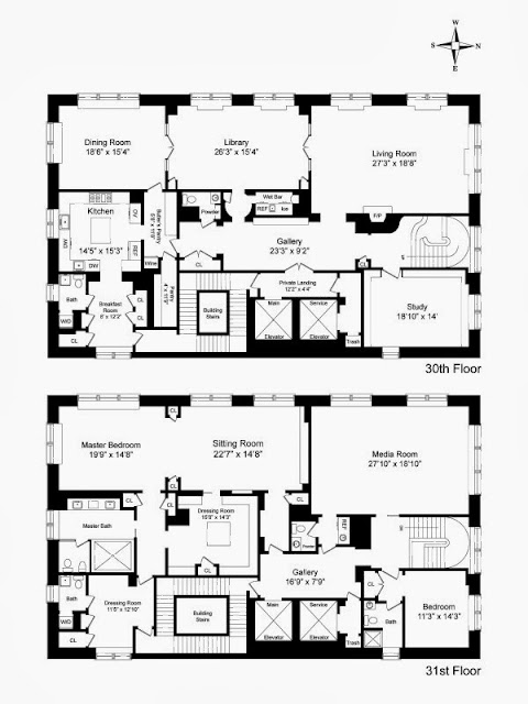 Floor plan of a NYC penthouse