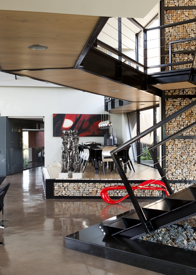 Modern interiors of the house in the wild