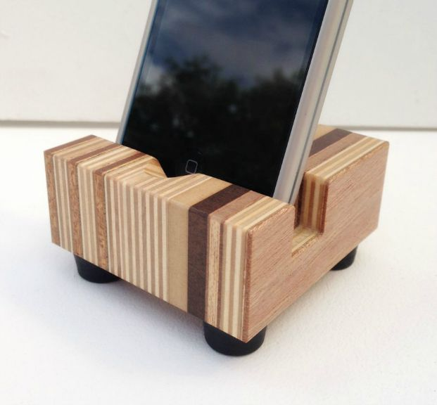 striped wood iphone stand