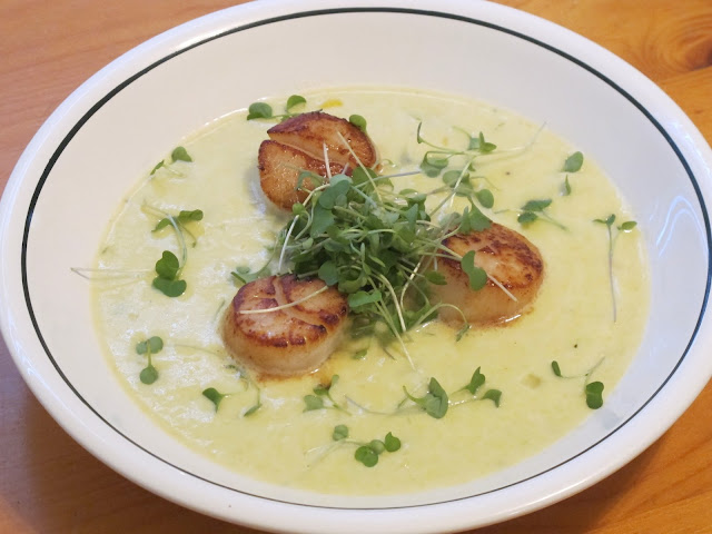 Jalapeno Corn Soup with Seared Scallops