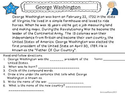 ... worksheets first grade reading worksheet george washington worksheets