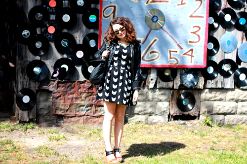 HM Cat Print Dress, Leather Jacket