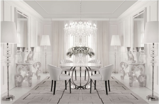 gorgeous light bright transitional style white dining room crystal chandelier modern furniture
