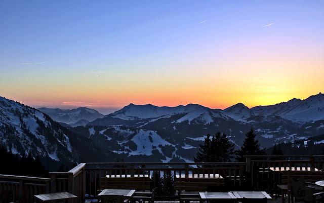 Авориаз фестиваль курорт горные лыжи горы закат снег