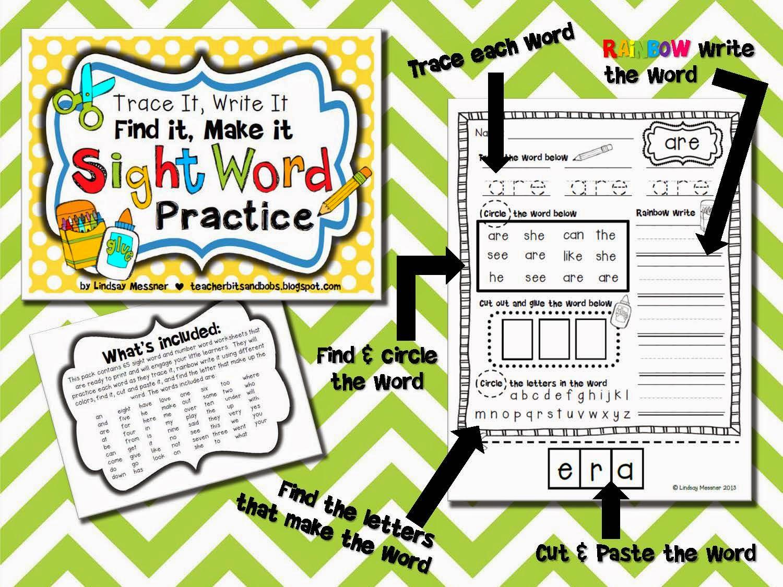 https://www.teacherspayteachers.com/Product/Trace-It-Write-It-Find-It-Make-It-Sight-Word-Practice-758804