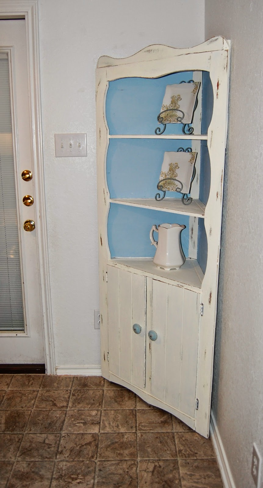 Heavily Shellacked Corner Cabinet Turned Shabby Chic Using Americana Chalk  Paints In Whisper U0026 Serene For The Interior Color. Distressed With New  Hardware ...