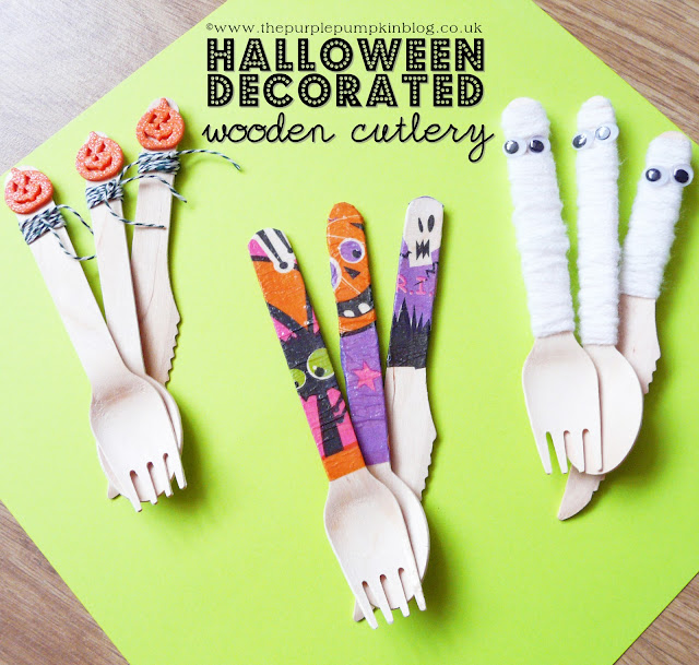 Halloween Decorated Wooden Cutlery | The Purple Pumpkin Blog