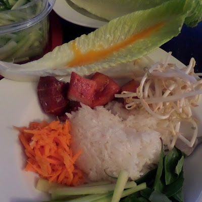 Smoked Marlin Lettuce Boats:  Leaves of romaine lettuce filled with carrots, sprouts, cucumbers, basil and smoked marlin.  Served with sticky rice and a mango puree.