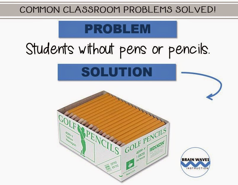 students without pencils, common classroom problems