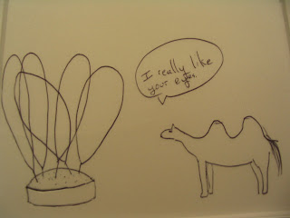 Camel to needles: I really like your eyes.