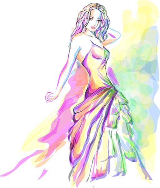 ilustración vectorial de mujer a la acuarela