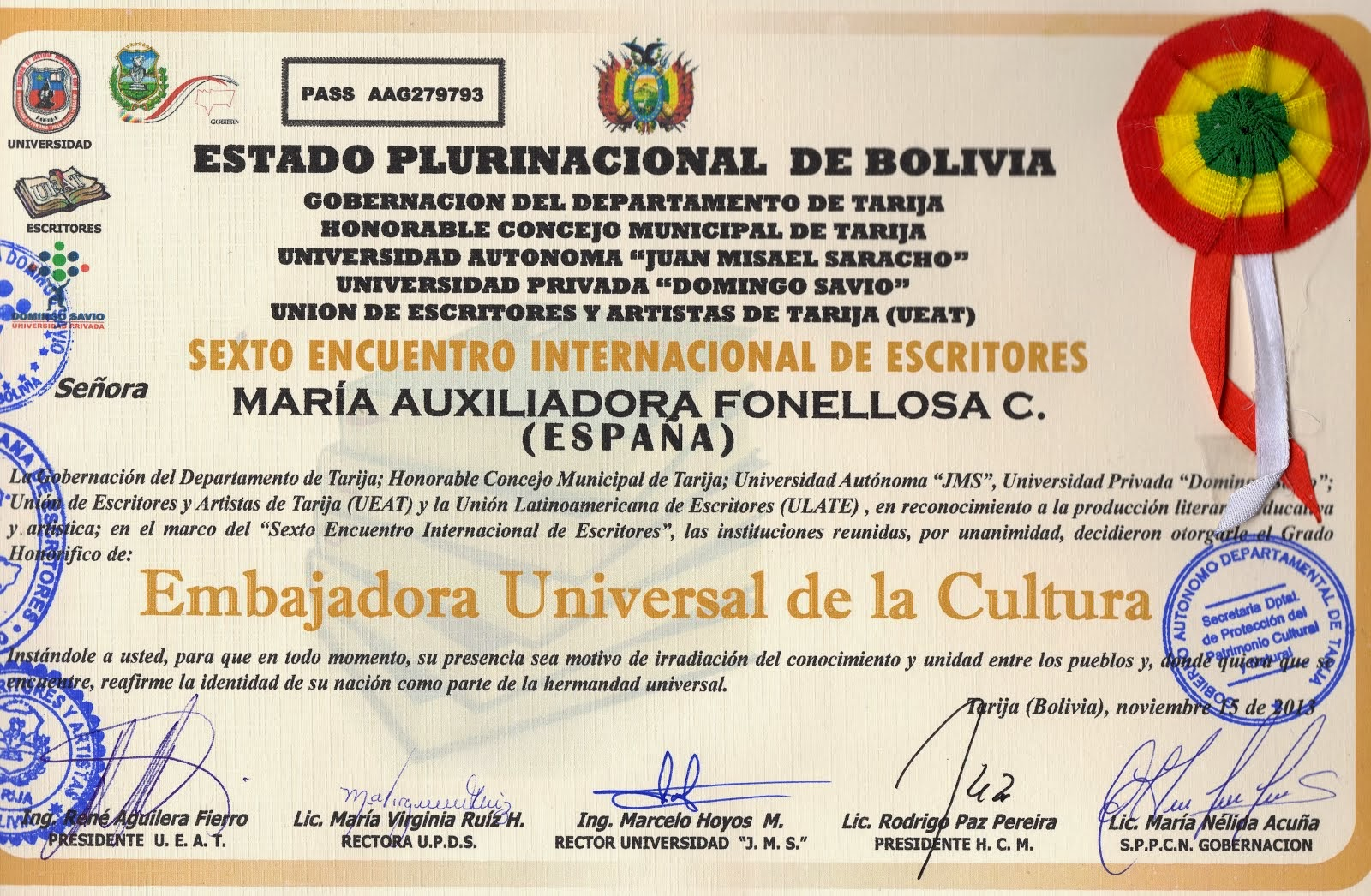 EMBAJADORA UNIVERSAL DE LA CULTURA