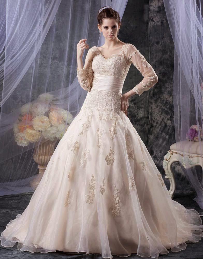 Modest Ball Gown Wedding Dresses Bling Lace Design pictures hd