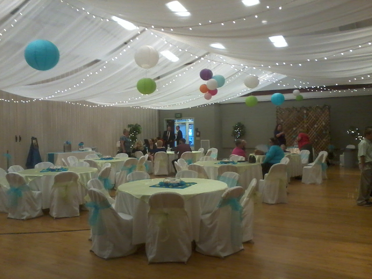 Fabric Ceiling Draping With Lights And Colored Accent Decor Changes A Church Gym Or Rental Hall Into An Awesome Wedding Venue