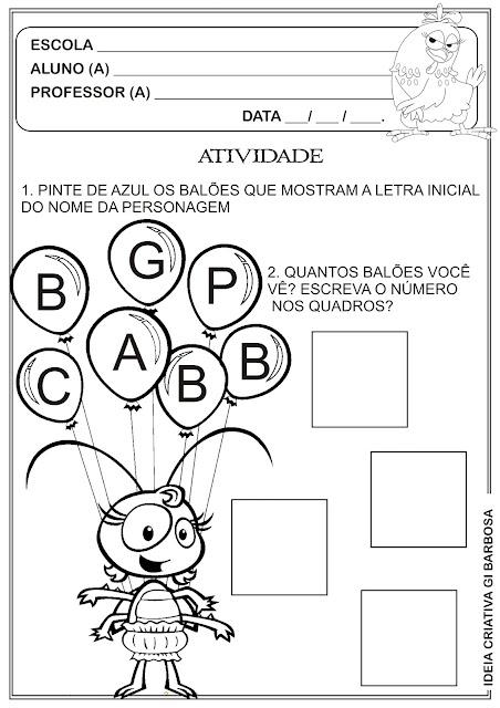Atividade Galinha Pintadinha Letra Inicial