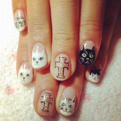 Мордочки на ногтях