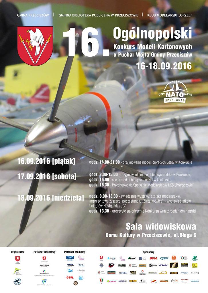 XVI Ogólnopolski Konkurs Modeli Kartonowych o Puchar Wójta Gminy Przeciszów 16 -18.09.2016