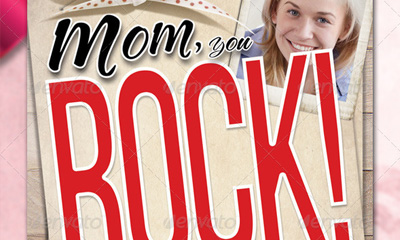 Mom you Rock! - Greetings Card & Flyer