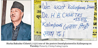 Posters in Harka Bahadur name supporting Kalimpong district
