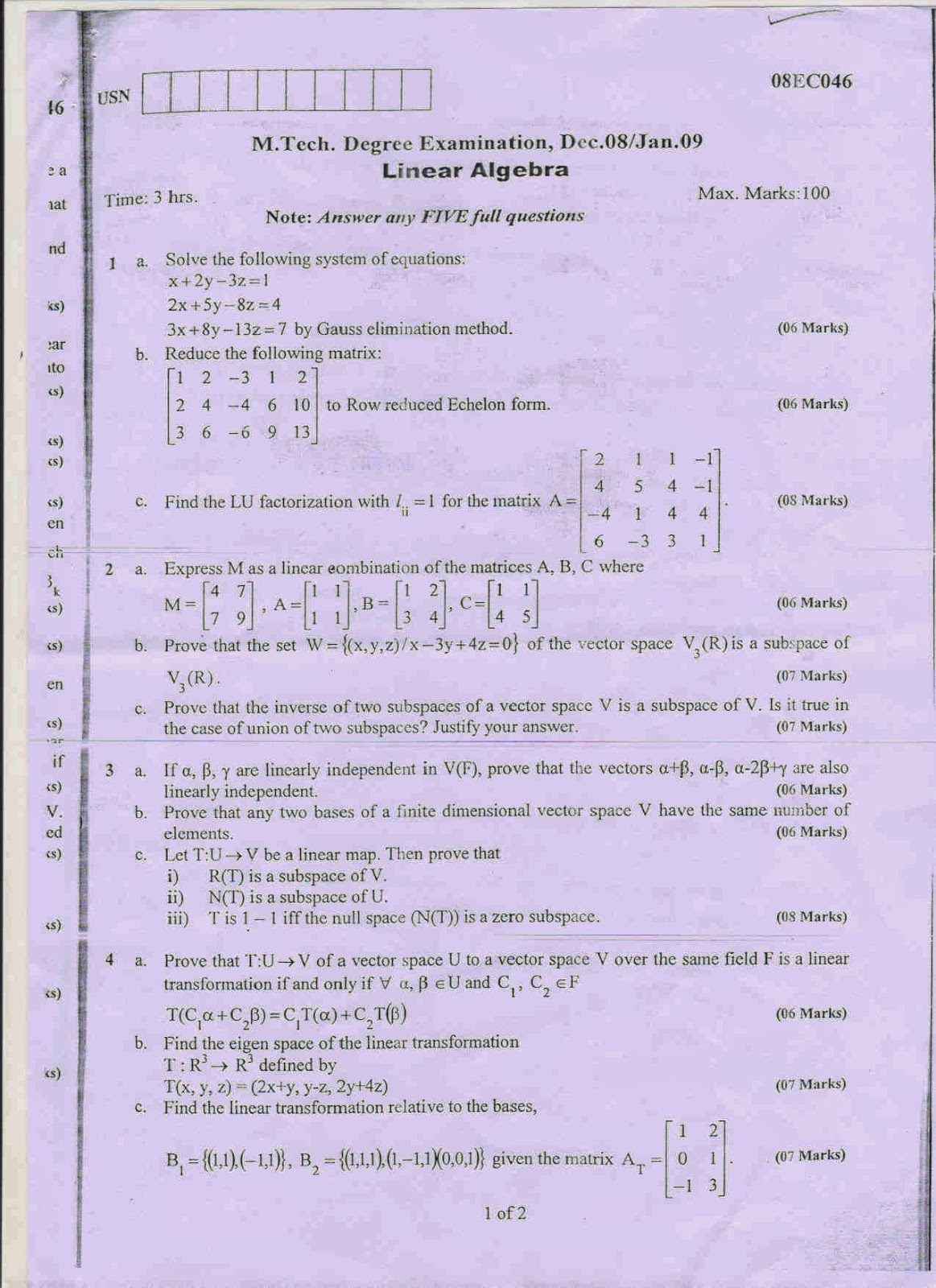 essays on linear algebra Linear algebra comprises of the theory and application of linear system of  equation, linear transformation and eigen value problem.