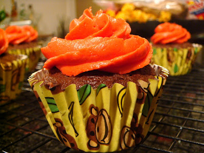 Chocolate, peanut butter, banana, and bacon cupcakes