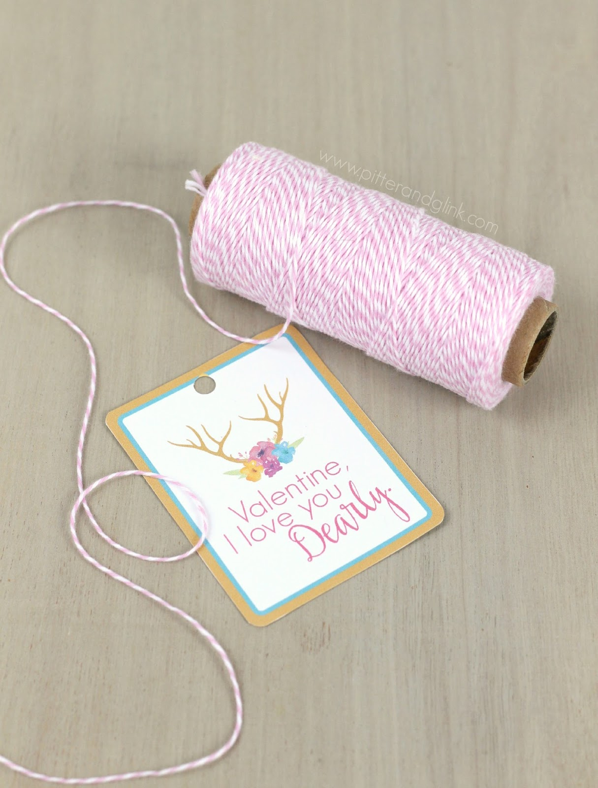"Free Printable ""Love You Dearly"" Valentine Gift Tags--Perfect for attaching to Valentine treats! www.pitterandglink.com"