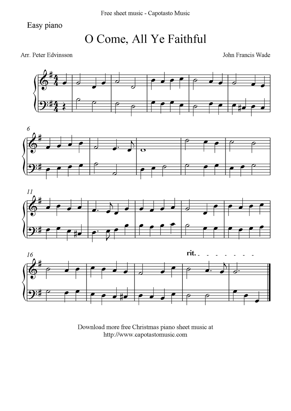 Free Easy Christmas Piano Sheet Music, O Come, All Ye Faithful