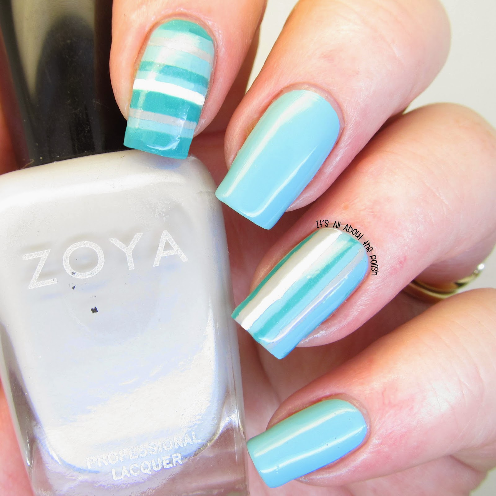 Its All About The Polish Notd Green White And Grey Stripe Nail