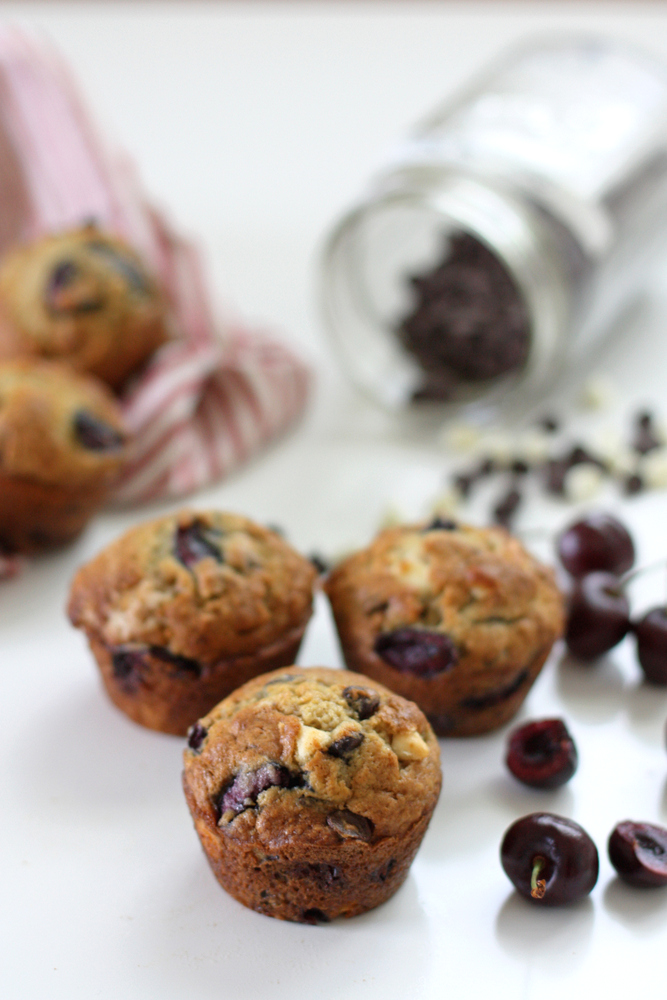 The perfect summer muffins, filled with fresh cherries and two kinds of chocolate chips. A one-bowl recipe!