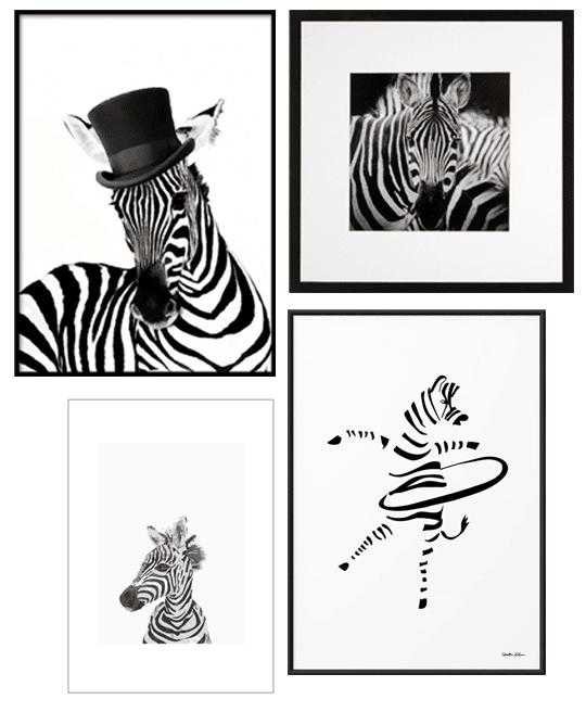 Postern zebra med hatt från desenio.se, kvadratisk inramad zebratavla från longcoastliving.se, lilla zebraaffischen och rockringande zebraaffischen från room99.se | www.var-dags-rum.se