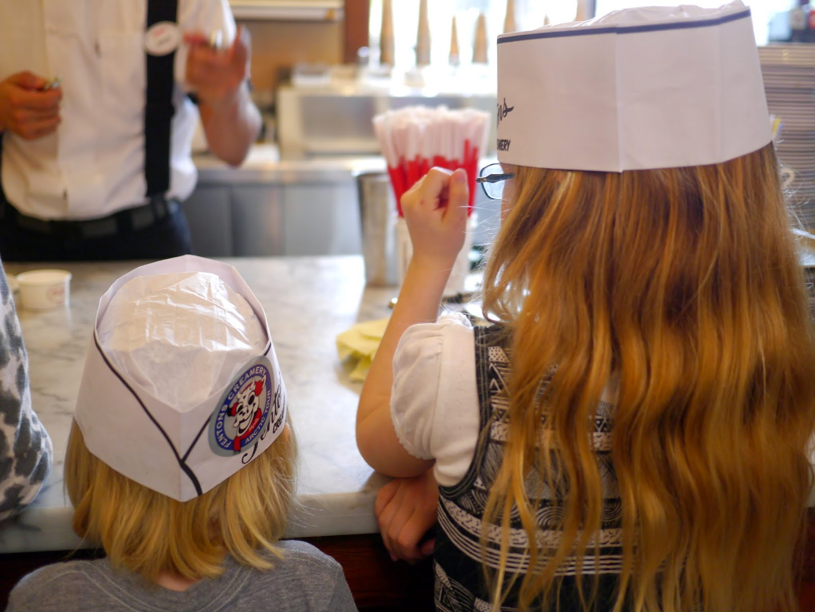 we then headed out the back to learn how make their ice cream we watched a staff member make cookies and cream ice cream and tasted it fresh