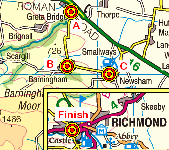 Map of the Greta Bridge to Richmond area