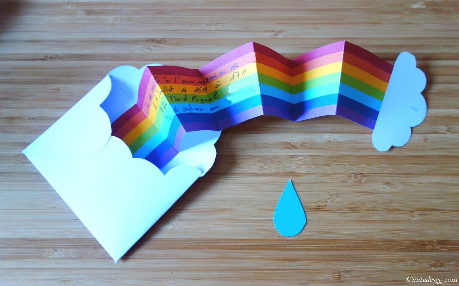 Initiales gg diy une invitation d 39 anniversaire en mode rainbow - Diy anniversaire enfant ...