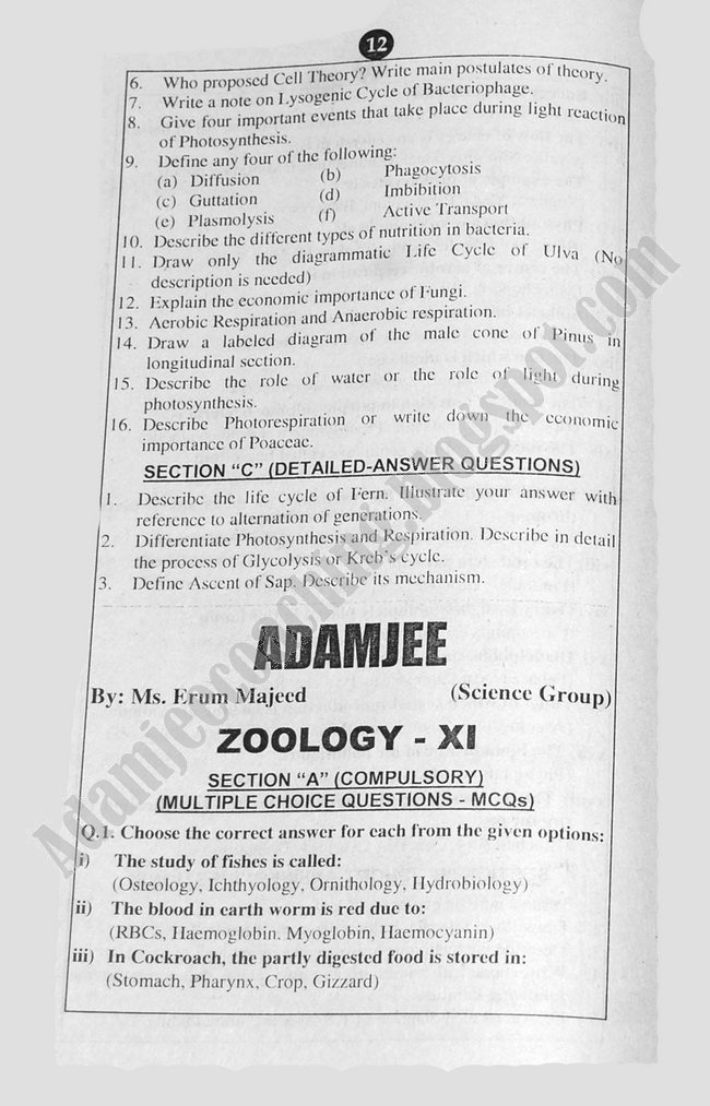 Zoology Guess Papers Science Group XI 2013