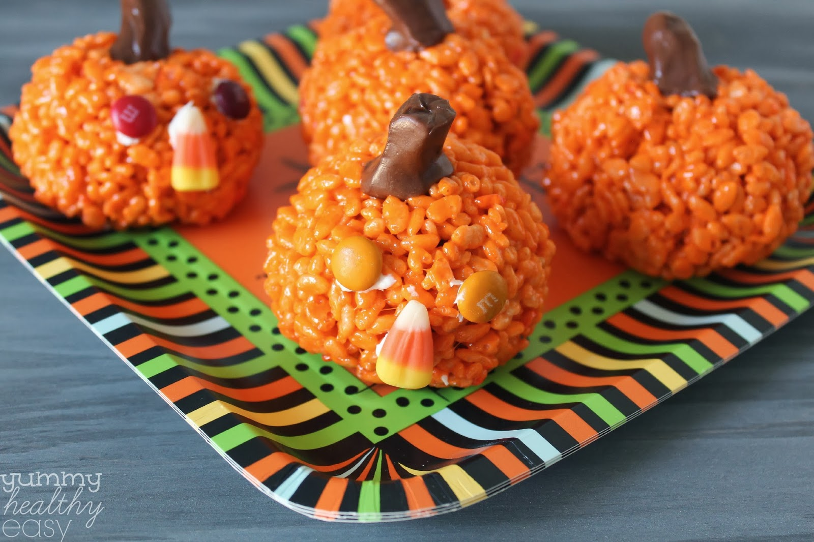 Easy Pumpkin Krispies Treats - Yummy Healthy Easy