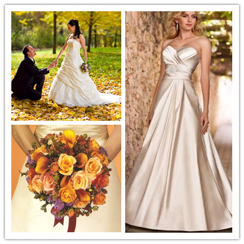 bridal and bridesmaid dresses for fall wedding