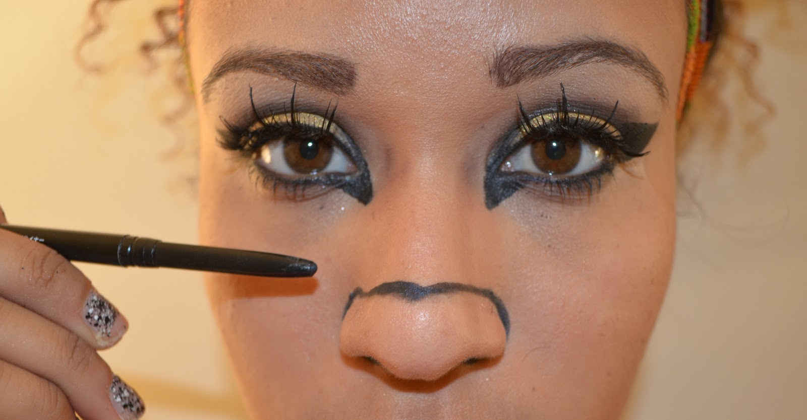 Using A Black Liner Start Drawing Your Cat Nose And Fill It In Then Draw  Black Dots On Both Sides Of Your Nose