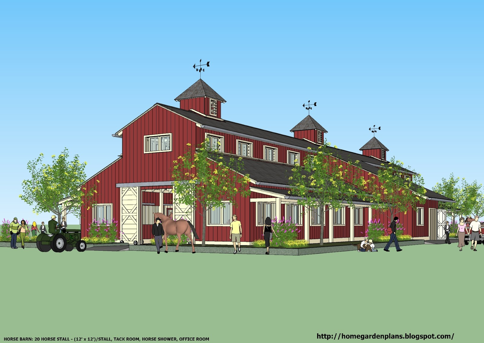 Home Garden Plans News B20h Large Horse Barn Plans For: house barn combo plans