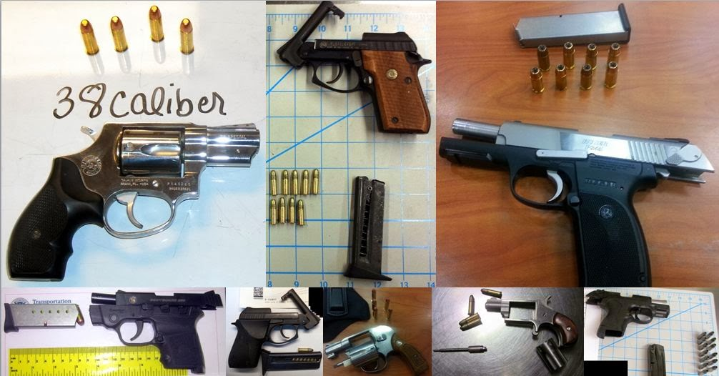 Guns Discovered at (Top to Bottom / Left to Right) RDU, OTH, ATL, TUL, MOB, JAN, ATL, PDX