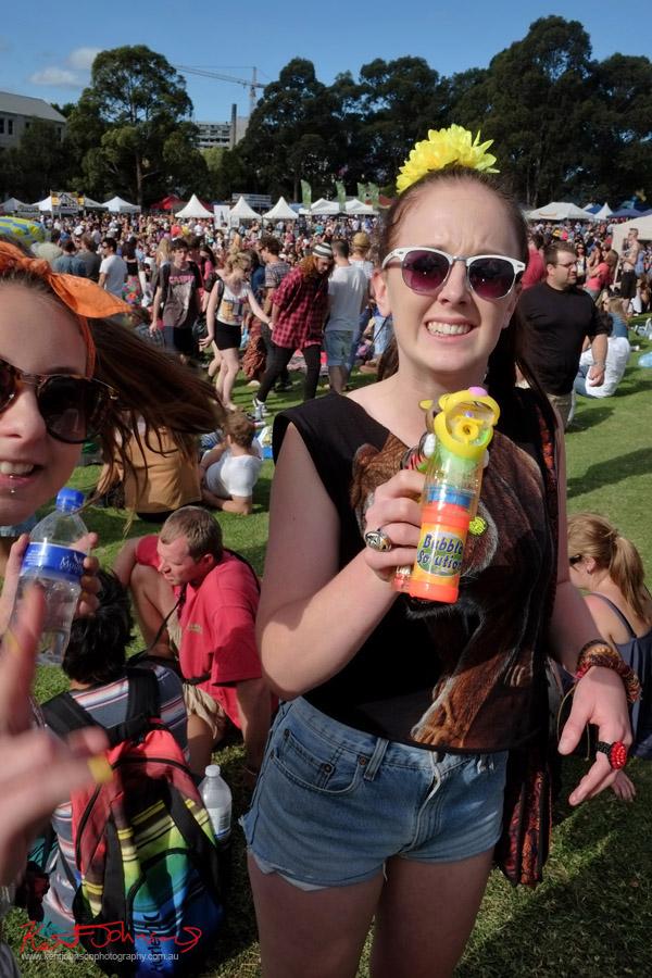 Newtown Festival, Fujifilm X-Pro1, White sunnies, bubble gun, yellow flowers in hair.