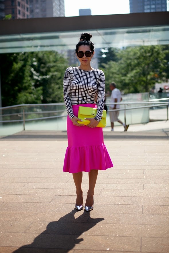 long pink skirt top messy bun yellow bag silver pumps new york street style new york fashion week womens fashion 2014