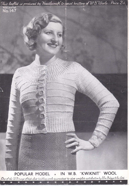 The Vintage Pattern Files Free 1930's Knitting Pattern - Ladies Yoked Cardigan