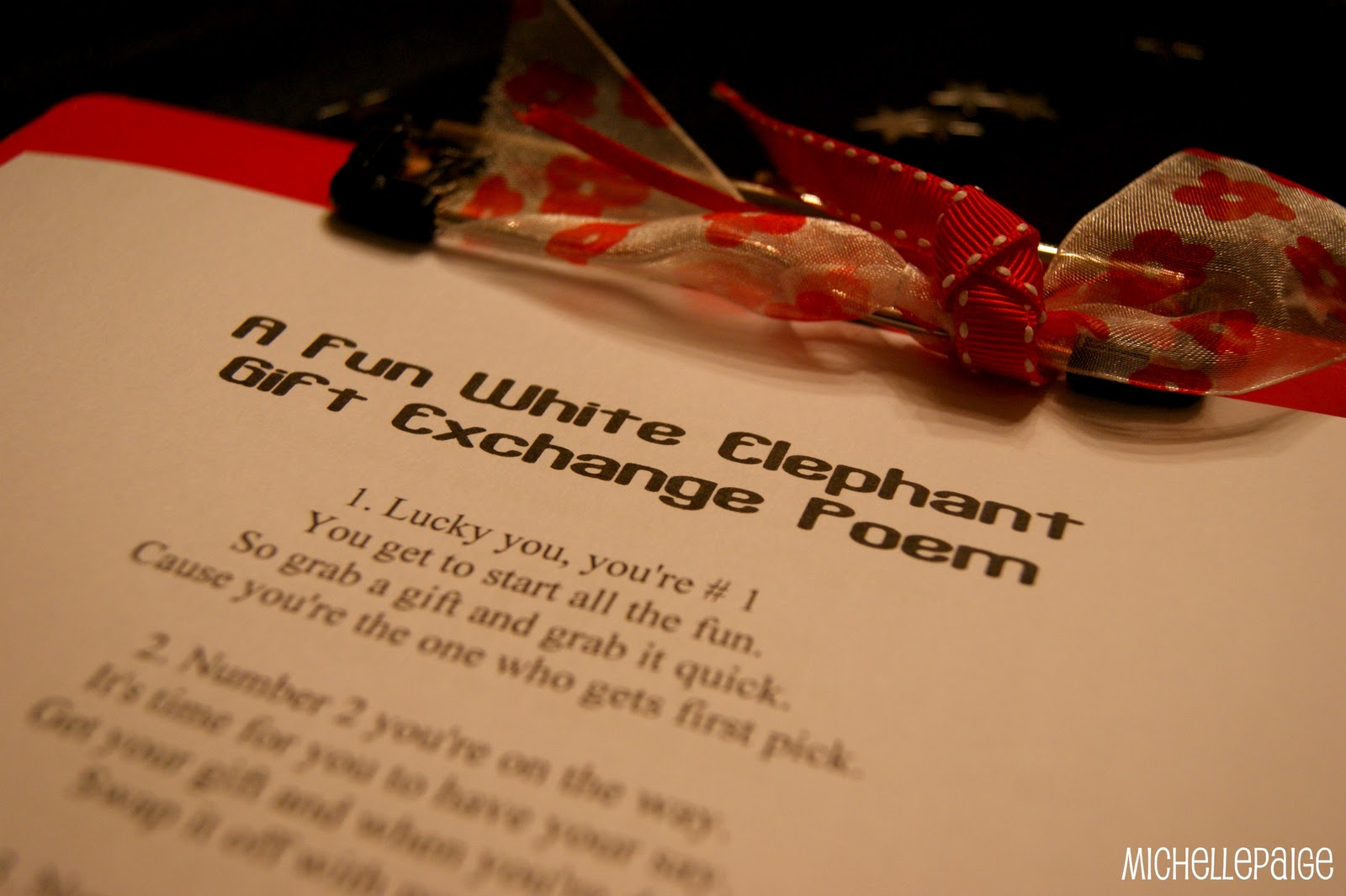 michelle paige blogs: White Elephant Gift Exchange Poem